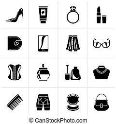 Black Female accessories and clothes icons