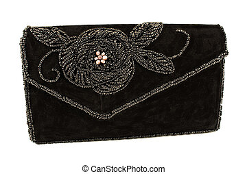 Black female bag with beads