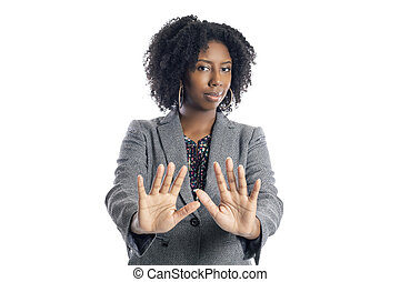 Black Female Businesswoman Doing a Stop Gesture