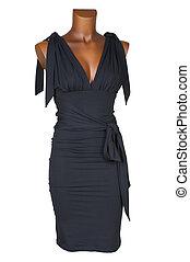Black female dress on a white background
