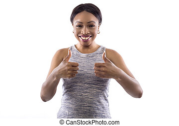 Black Female Fitness Traineron a White Background with Thumbs Up
