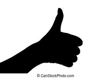Black-female hand thumbs up isolated on white background