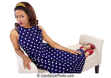Black Female in Retro Polka Dot Dress - retro black female...