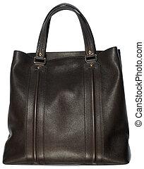 Black female leather bag isolated on white