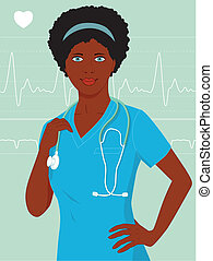 Young African-American healthcare professional in hospital scrubs and with stethoscope, with heart monitor background