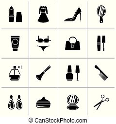 Black female objects and accessories icons