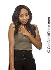 Black Female Shy Expressions on White Background - Black...