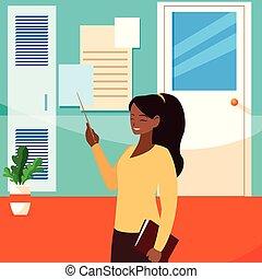 black female teacher with textbook in school corridor