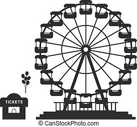 black ferris wheel with cash desk