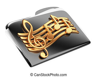 Black files folder, 3d icon with musical notes