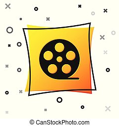 Black Film reel icon isolated on white background. Yellow square button. Vector Illustration