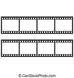 Black film strip on white background. Vector illustration