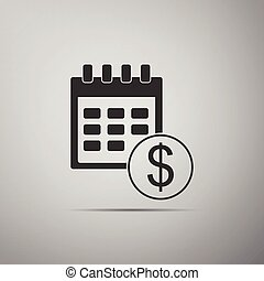 Black Financial calendar icon isolated on grey background. ...
