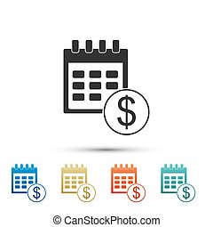 Black Financial calendar icon isolated on white background. ...