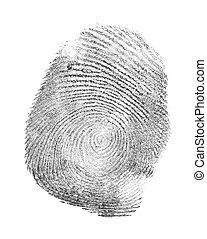 black fingerprint isolated on white background