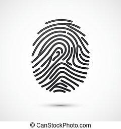 Black fingerprint isolated on white background. Vector illustration