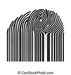 Black fingerprint with bar code. Barcode fingerprint. Vector fingerprint illustration
