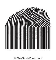 Black fingerprint with bar code