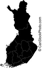 Black Finland map - Black map of administrative divisions of...
