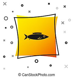 Black Fish icon isolated on white background. Yellow square button. Vector