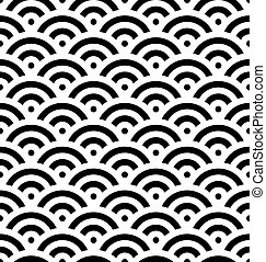 Black fish scale background of concentric circles. Abstract seamless pattern looks like sea waves. Vector illustration