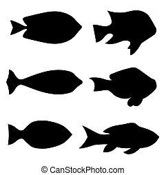 black fish silhouettes - vector illustration