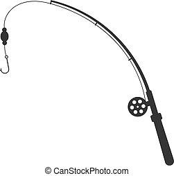 black fishing rod silhouette