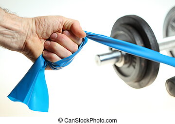 black fitness exercise equipment dumbbell weight with blue elastic band