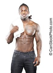 Black fitness model in jeans