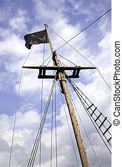 Black flag in a ship mast