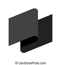 Black flag symbol of grief. Black ribbon. Vector illustration