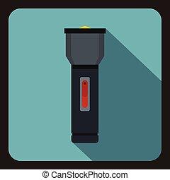 Black flashlight icon, flat style