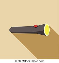 Black flashlight icon in flat style