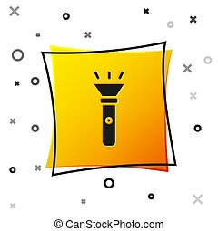 Black Flashlight icon isolated on white background. Yellow square button. Vector