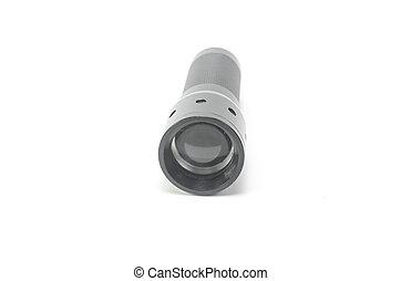 Black flashlight isolated on white background