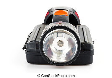Black flashlight isolated on white background