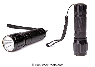 black flashlight isolated on white