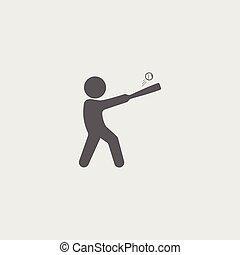Black flat baseball player icon with stick, ball