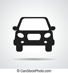 black flat car button icon on a grey background