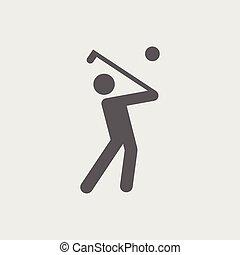 Black flat golf player vector icon.