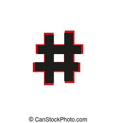 Black flat Hashtag icon with long shadow on white background