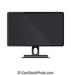 Black flat led monitor of computer or TV isolated on white background.