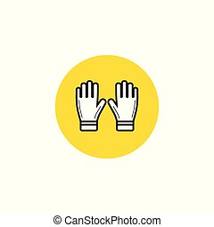 Black flat line vector icon with a picture of gloves on white background.