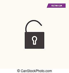 Black flat open padlock, lock icon.