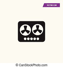 Black Flat Tape Recorder Icon.
