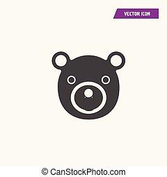 Black flat teddy bear face vector icon.