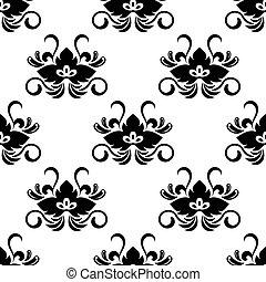 Black floral arabesque seamless pattern