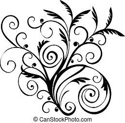 black , floral