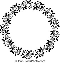 Black floral border for wedding invitations and graphic design - round vector flower wreath