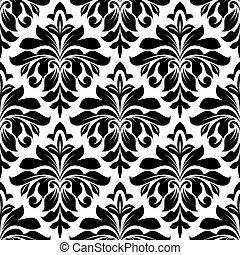 Black floral damask seamless pattern